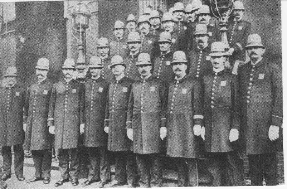 "An old newspaper photograph shows the group of Jewish policemen in New York City assigned in 1895 to protect Herr Ahlwardt, an anti-Semite who came from Berlin with the announced purpose of speaking against the Jews. Fairfield University will present ""The Visitor,"" a play by Carol K. Mack about this real event, on Tuesday, March 19. Photo: Contributed Photo"