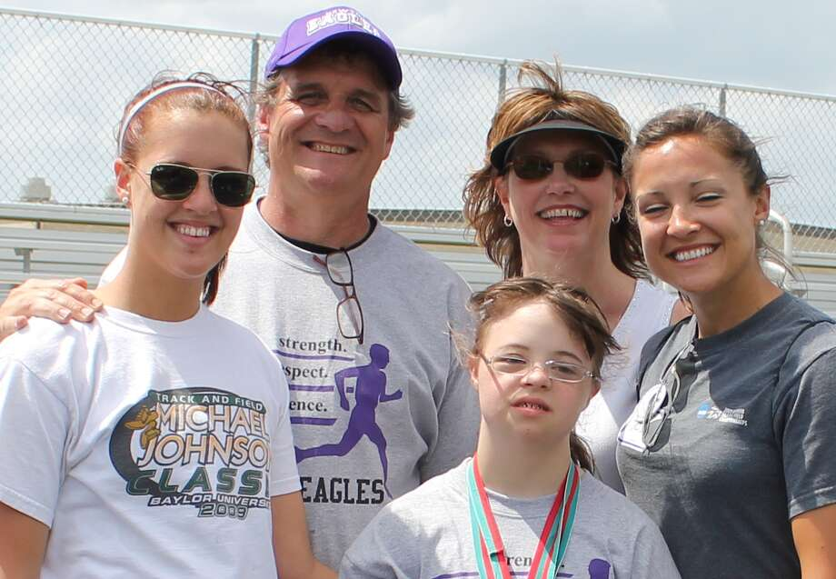 Hannah Meek (Director of Special Olympics Beaumont Office),  Donnie Meek, Samantha Meek, Donna Meek and Dess Meek, Track and Field Coach SFASU. To learn more about being a volunteer, contact Donnie Meek at 379-5061 or donnie@newtontexas.org of in Jasper, Chris Coleman at 384-2401 or ccoleman@jasperisd.net. For more information, go to sotx.org. Photo: Handout