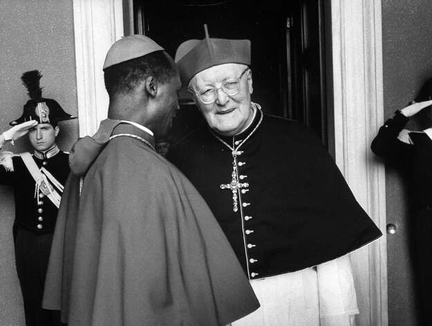 1978: Cardinal Laurian Rugambwa, left talking with Cardinal Michael Browne, right during the Conclave of Cardinals to elect new Pope. Photo: David Lees, Time & Life Pictures/Getty Image / David Lees