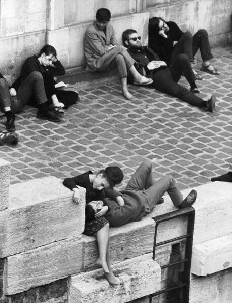 Beatniks hanging out in Paris.