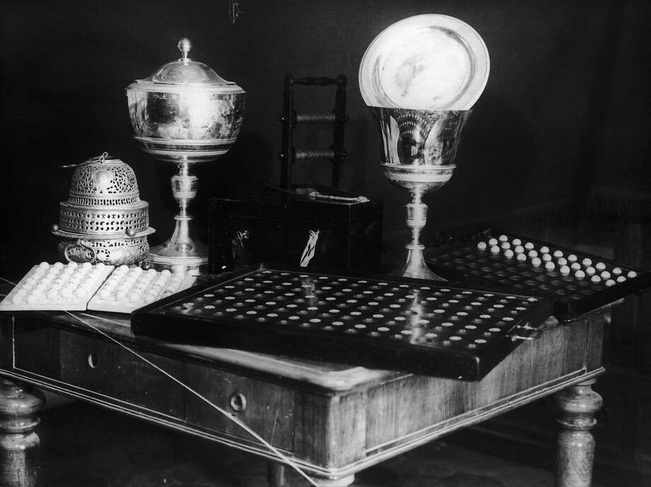 1978: Items used in the election of popes, kept in the Sistine Chapel of St Peter's in Rome. Items include a golden chalice in which votes for the new Pope are placed, and an urn from which white smoke for agreement or black smoke for an adjournment will be seen by the public outside St Peter's. Photo: Keystone, Getty Images / 2005 Getty Images