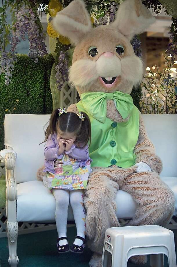 'And then there was the spring of '83 when the Basket Grass Workers Local 158 went on strike at the height of the hard-boiled egg shortage. Those were dark days, let me tell you …' Three-year-old Madalynn Gifford suffers a visit with the Easter Bunny at the Cherry Hill Mall in Cherry Hill, N.J. Photo: Jose F. Moreno, Associated Press