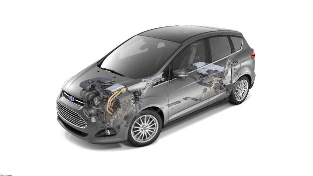 2013 Ford C-MAX Hybrid. Cutaway drawing shows how the C-Max is designed. / Copyright 2012