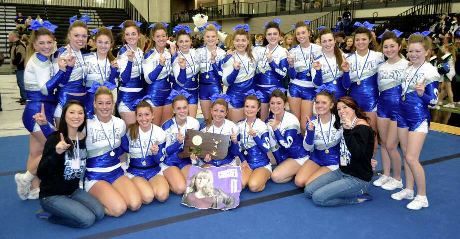 The Fairfield Ludlowe High School cheerleading squad claimed the state championship at this weekend's State Open at the New Haven Athletic Center. Pictured, front row from left: assistant coach Linsey Neglio, Alley Meyer, Allie Nick, Taylor Van Fleet, Hilary Pacelli, Mary Kate OíBrien, Kendall Tyrell, Colleen Keith and coach Ashley Carolan; back row: Nina Martucci, Haley Deorio, Sage Moriarty, Kiki von Brauchitsch, Zoe Audino, Morgan Galdenzi, Katie Grant, Patrice Tsopanides, Abby Casey, Allie Franchuk, Tess Atkins, Lindsey Innaimo, Amanda OíBrien, Katie Kirchgasser. Photo: Contributed Photo