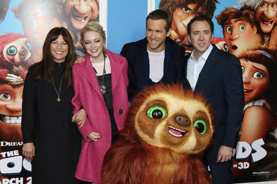 (L-R) Actors Catherine Keener, Emma Stone, Ryan Reynolds and Nicolas Cage attend The Croods premiere at AMC Loews Lincoln Square 13 theater on March 10, 2013 in New York City. Photo: Neilson Barnard, Getty Images / 2013 Getty Images