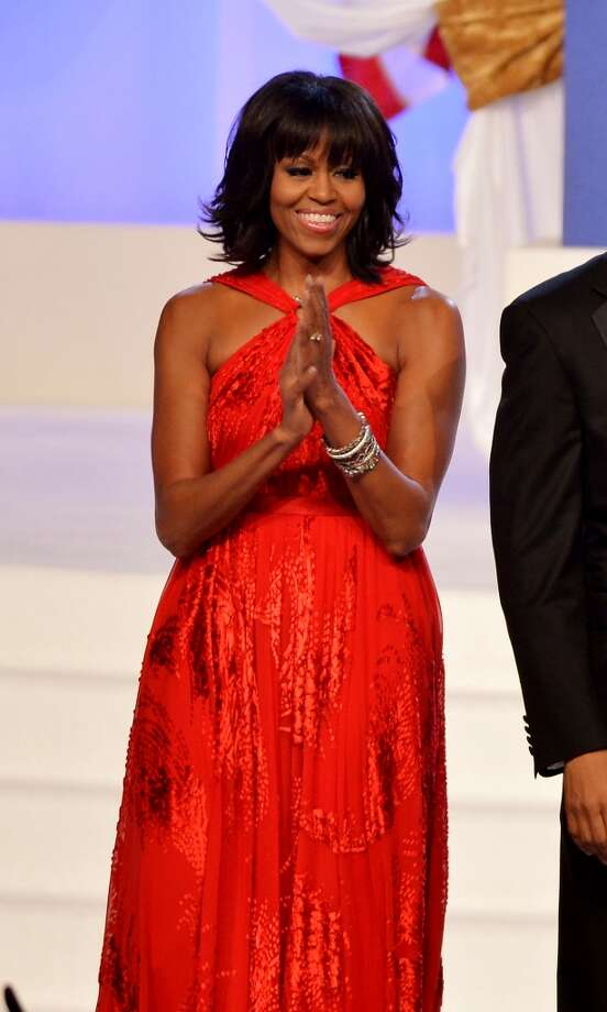 First lady Michelle Obama arrives for the Inaugural Ball at the Walter E. Washington Convention Center on January 21, 2013.