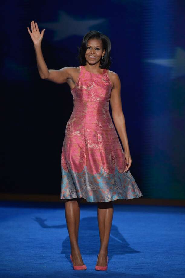 Shimmering in a pink Tracy Reese frock at the Time Warner Cable Arena in Charlotte, N.C., on the first day of the Democratic National Convention (DNC) in 2012.