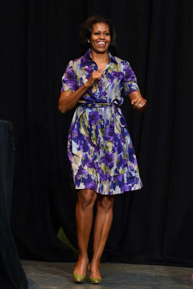 The first lady rocks a floral look as she speaks to grassroots supporters at the James L. Knight Center in 2012.