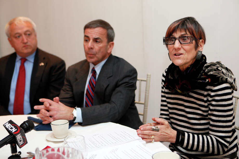 Congresswoman Rosa L. DeLauro, right, meets with mayors from the Third Congressional District to discuss sequestration on Monday, March 11 at Molto Bene restaurant in Ansonia , Conn.  Derby Mayor Anthony Staffieri, left, and North Haven First Selectman Michael J. Freda answer questions from the press. Photo: BK Angeletti, B.K. Angeletti / Connecticut Post freelance B.K. Angeletti