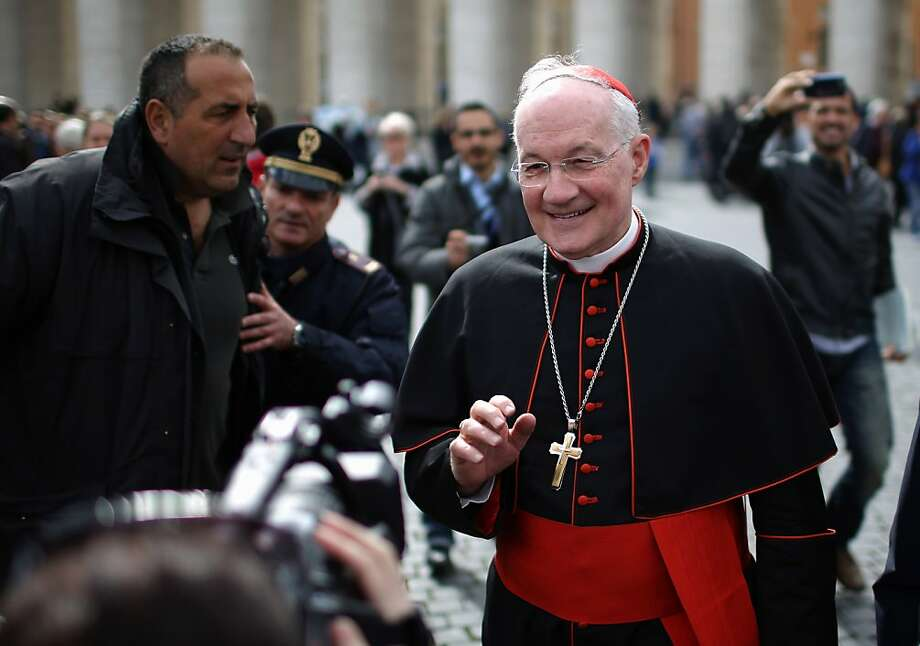 Canadian Cardinal Marc Ouellet leaves the final congregation before 115 cardinals enter the conclave to select the 266th pope of the Catholic Church. The conclave starts Tuesday in the Sistine Chapel. Photo: Christopher Furlong, Getty Images