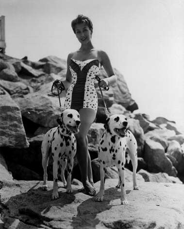 1955:  Joan Smith wearing a spotty swimsuit and with two dalmatians on leads. Photo: Keystone, Getty / Hulton Archive