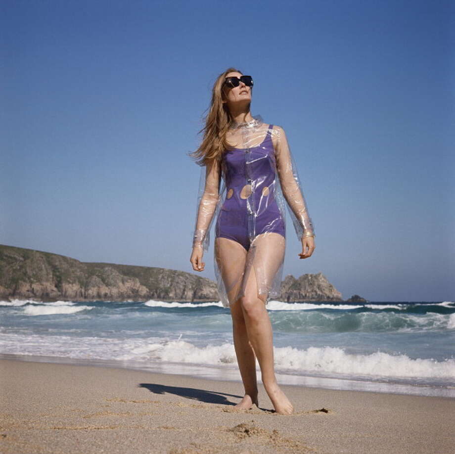 1965:A model wearing a cutaway swimsuit with a transparent waterproof cape over it. Photo: Jamie Hodgson, Getty / 2011 Jamie Hodgson