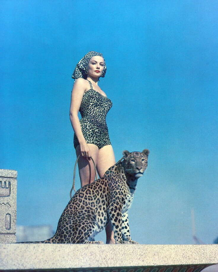 1940: Gene Tierney, US actress, wearing a leopard print swimsuit and headscarf, posing alongside a leopard. Photo: Silver Screen Collection, Getty / 2011 Silver Screen Collection