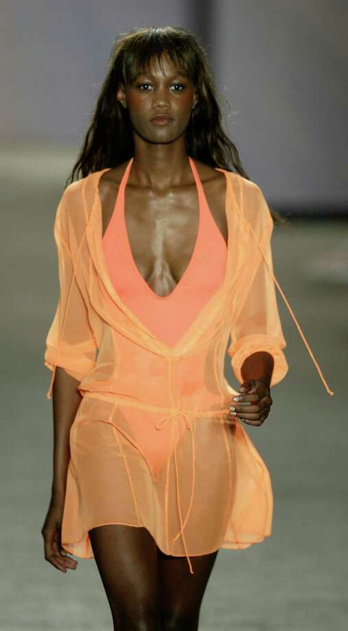 Spring/Summer 2004:A model wears an outfit by DKNY Photo: Buster Dean, Getty / Houston Chronicle