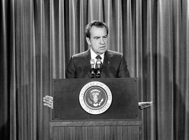 FILE - In this Jan. 31, 1973, file photo, President Richard Nixon speaks at a White House news conference in Washington, repeating his call to ban Saturday night specials in the wake of the shooting of Sen. John Stennis, D-Miss., the day before. Few presidents in modern times have been as interested in gun control as Nixon, who proposed ridding the market of Saturday night specials, contemplated banning handguns altogether and refused to pander to gun owners by feigning interest in their weapons. Photo: AP