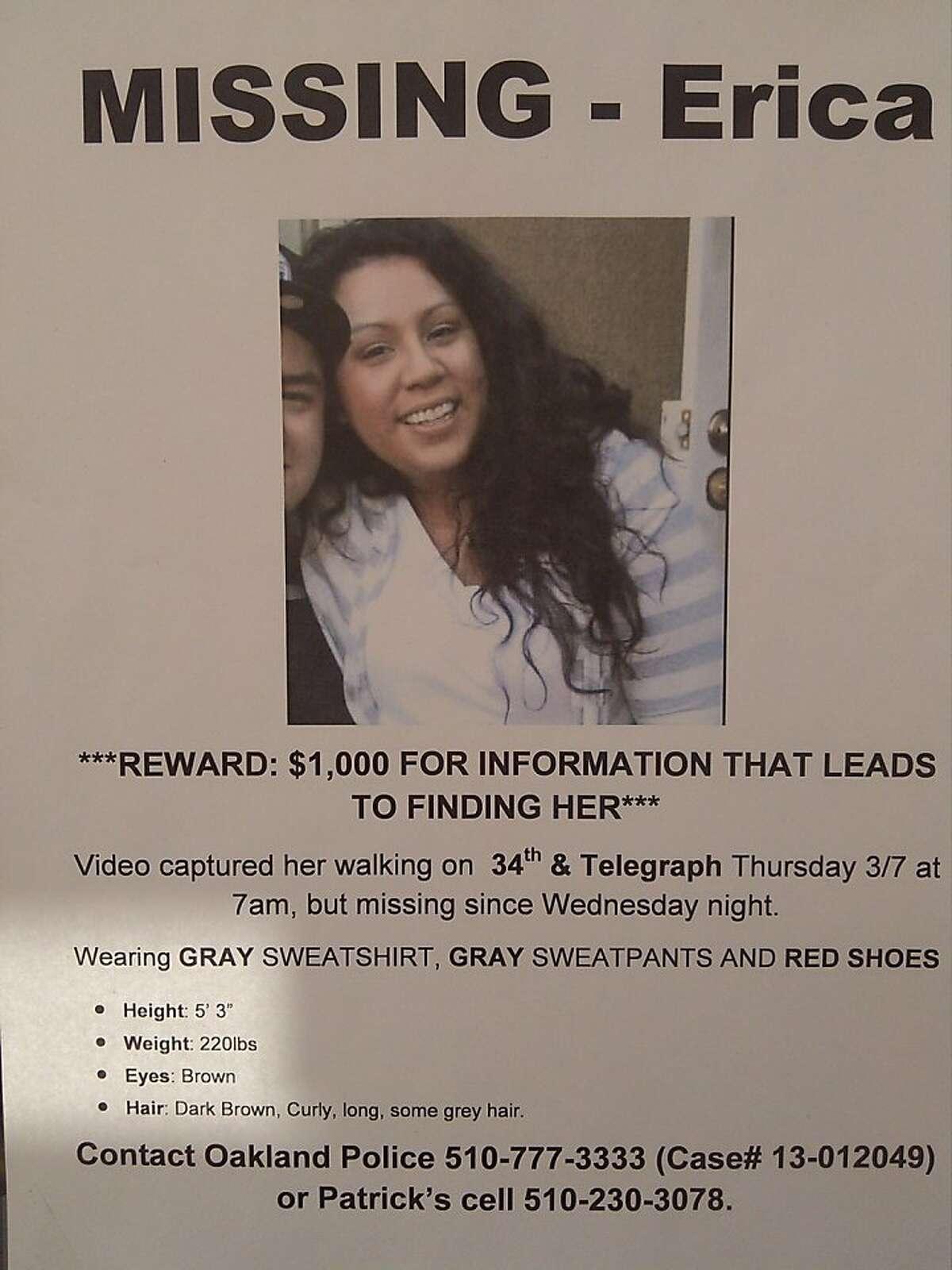 Flier regarding a missing Oakland woman, Erica Maskaleris, who has not been seen since March 7, 2013.