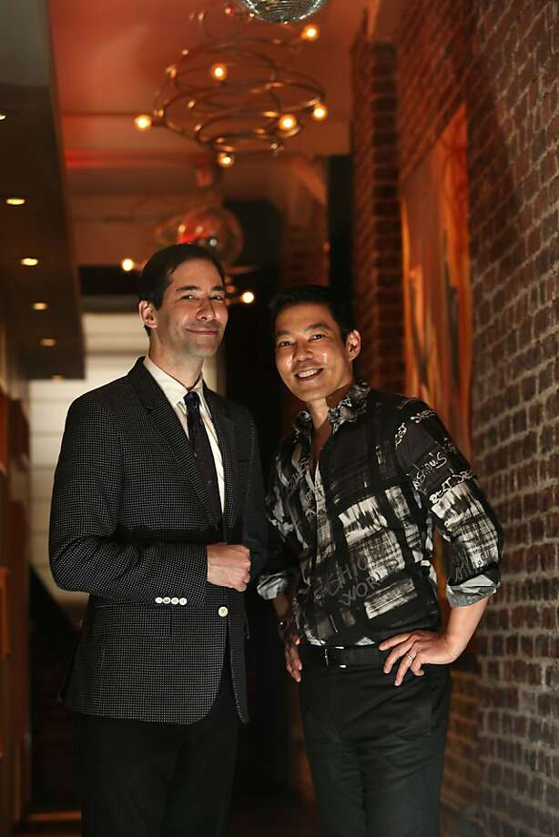 Medical director Thomas Ellis (left) and esthetic director Craig Shishido, with hydrating drops, right, are partners in life and at Gentle Star Medspa, located at 14 Mint Plaza. Photo: Liz Hafalia, The Chronicle
