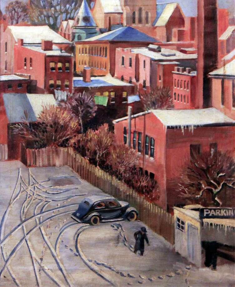 """Art for Everyone"" exhibit documents everyday life in 1930s Connecticut at the Fairfield Museum through April 21. Above is George Earle's ""Bridgeport Parking Lot."" Photo: Contributed Photo"