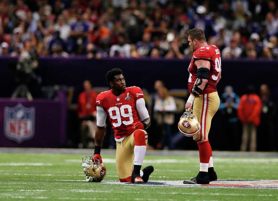 3. Defensive end: The team's most indispensable player - Justin Smith - is coming off triceps surgery and may have had his worst game as a 49er in the Super Bowl. He's also going to be 34 and at the very least will need to be spelled more often next year. All the the defensive linemen need fewer snaps so they don't collapse at the end of the season like last year. A perfect fit could be Jets free agent Mike DeVito, who won't get a lot of sacks loves the dirty work at the position and could rotate into the line with no hint of a drop-off. He also wouldn't cost much. Photo: Michael Macor, The Chronicle / SFC