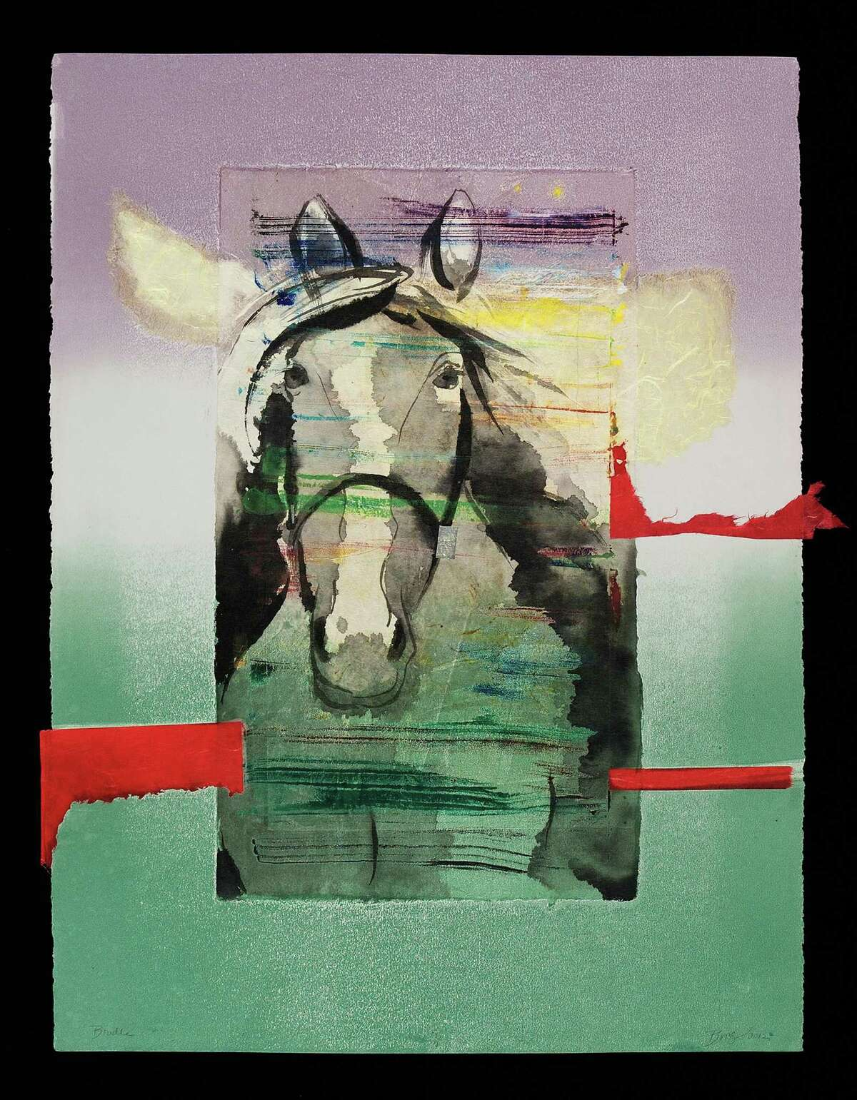 """Bingham received an honorable mention at the Portraits in Print show presently on view at the Center for Contemporary Print Making in Norwalk, for her monotype print, """"Bridle."""""""