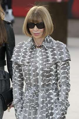 British editor of Vogue, Anna Wintour arrives for the Burberry Prorsum fashion collection during London Fashion Week, at a central London Venue, Monday, Feb. 18, 2013, London. (Photo by Jonathan Short/Invision/AP)