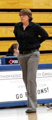 Lauralton Hall head coach Amanda Forcucci during the CIAC class LL girls basketball semifinal game  against Trumbull high school held at Fairfield Ludlowe high school, Fairfield, CT on Monday March 11th, 2013 Photo: Mark Conrad / Connecticut Post Freelance