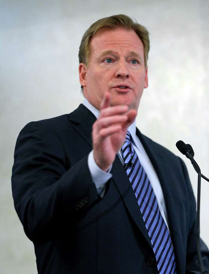 NFL Commissioner Roger Goodell speaks during an NFL football news conference in New York, Monday, March 11, 2013. The NFL is partnering with private companies as well as the U.S. Military to further research on head injuries. (AP Photo/Seth Wenig) Photo: Seth Wenig