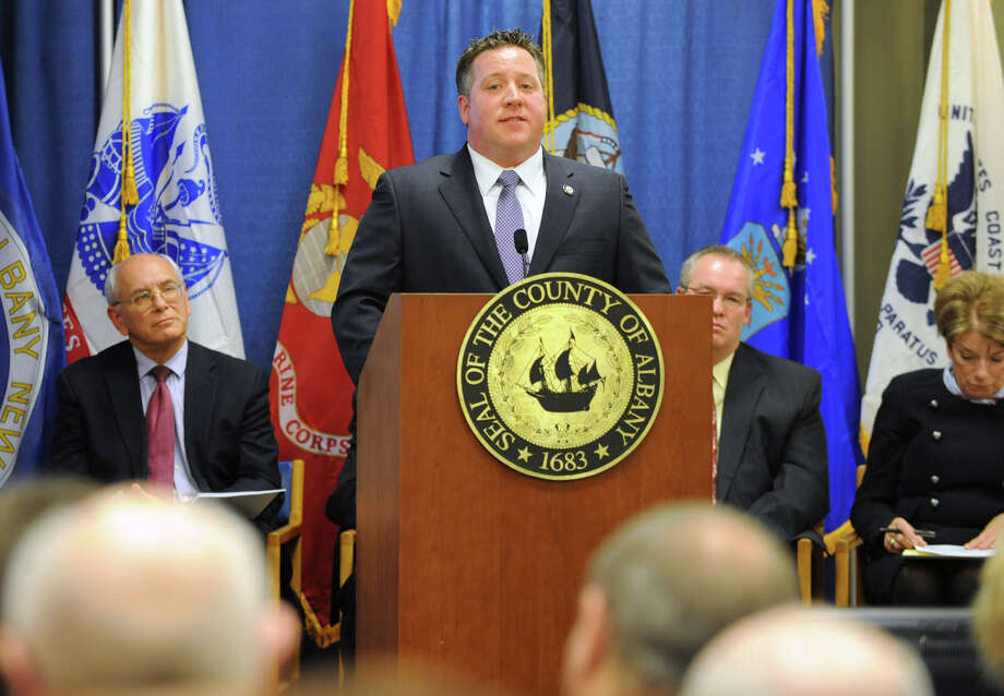 Albany County Executive Dan McCoy gives his second State of the County address on Monday March 11, 2013 in Albany, N.Y.  (Lori Van Buren / Times Union) Photo: Lori Van Buren