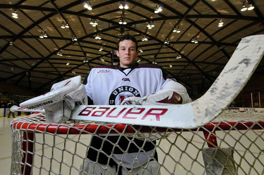 Union College goalie Troy Grosenick returns for his junior year on the team, seen here during Media Day on Monday Oct. 1, 2012 in Schenectady, NY.(Philip Kamrass / Times Union) Photo: Philip Kamrass / 00019455A