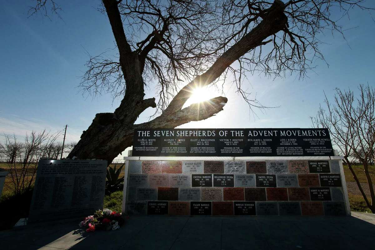A monument for the leaders of the Seventh-day Adventist and Branch Davidian movements and the Branch Davidians who died in 1993 shares the site of the New Mount Carmel Center and the Stone Church outside Waco.