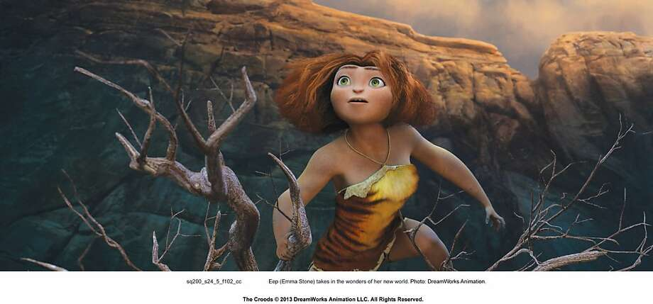 "Eep (voice of Emma Stone) discovers life outside the family cave in ""The Croods,"" opening Friday at Bay Area theaters. Photo: 20th Century Fox"