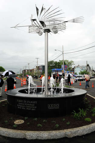 Dedication of the Gustav Whitehead Memorial Fountain, in Bridgeport, Conn. May 15th, 2012. Photo: Ned Gerard / Connecticut Post
