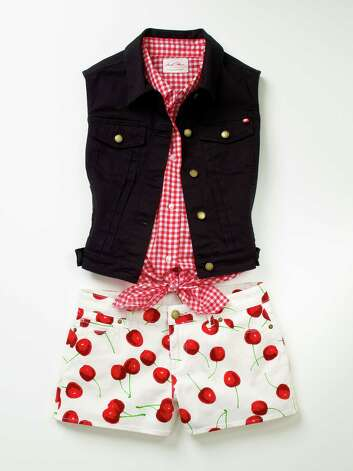 From Macy's Marilyn Monroe Collection: red gingham tie top, $34.50 over cherry-printed short-shorts, $44.50. Black cropped sleeveless vest, $49.50 Photo: Photo Courtesy Macy's / Macy's