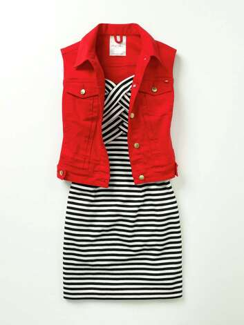 Marilyn Monroe black and white striped dress with a red sleeveless vest, Macy's, dress $59.50, vest $49.50. Photo: Photo Courtesy Macy's / Macy's