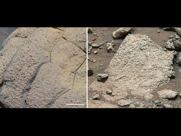 """This set of images compares rocks seen by NASA's Opportunity rover and Curiosity rover at two different parts of Mars. On the left is """" Wopmay"""" rock, in Endurance Crater, Meridiani Planum, as studied by the Opportunity rover. On the right are the rocks of the """"Sheepbed"""" unit in Yellowknife Bay, in Gale Crater, as seen by Curiosity. The rock on the left is formed from sulfate-rich sandstone. Scientists think the particles were i"""