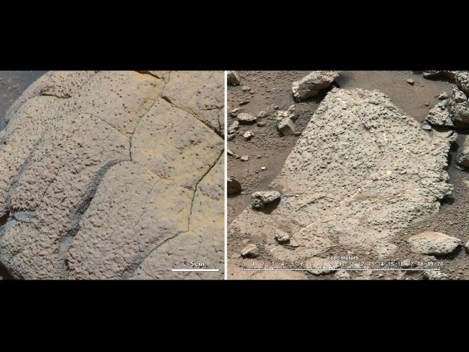 "This set of images compares rocks seen by NASA's Opportunity rover and Curiosity rover at two different parts of Mars. On the left is "" Wopmay"" rock, in Endurance Crater, Meridiani Planum, as studied by the Opportunity rover. On the right are the rocks of the ""Sheepbed"" unit in Yellowknife Bay, in Gale Crater, as seen by Curiosity.The rock on the left is formed from sulfate-rich sandstone. Scientists think the particles were in part formed and cemented in the presence of water. They also think the concretions (spherical bumps distributed across rock face) were formed in the presence of water. The Meridiani rocks record an ancient aqueous environment that likely was not habitable due the extremely high acidity of the water, the very limited chemical gradients that would have restricted energy available, and the extreme salinity that would have impeded microbial metabolism -- if microrganisms had ever been present. 