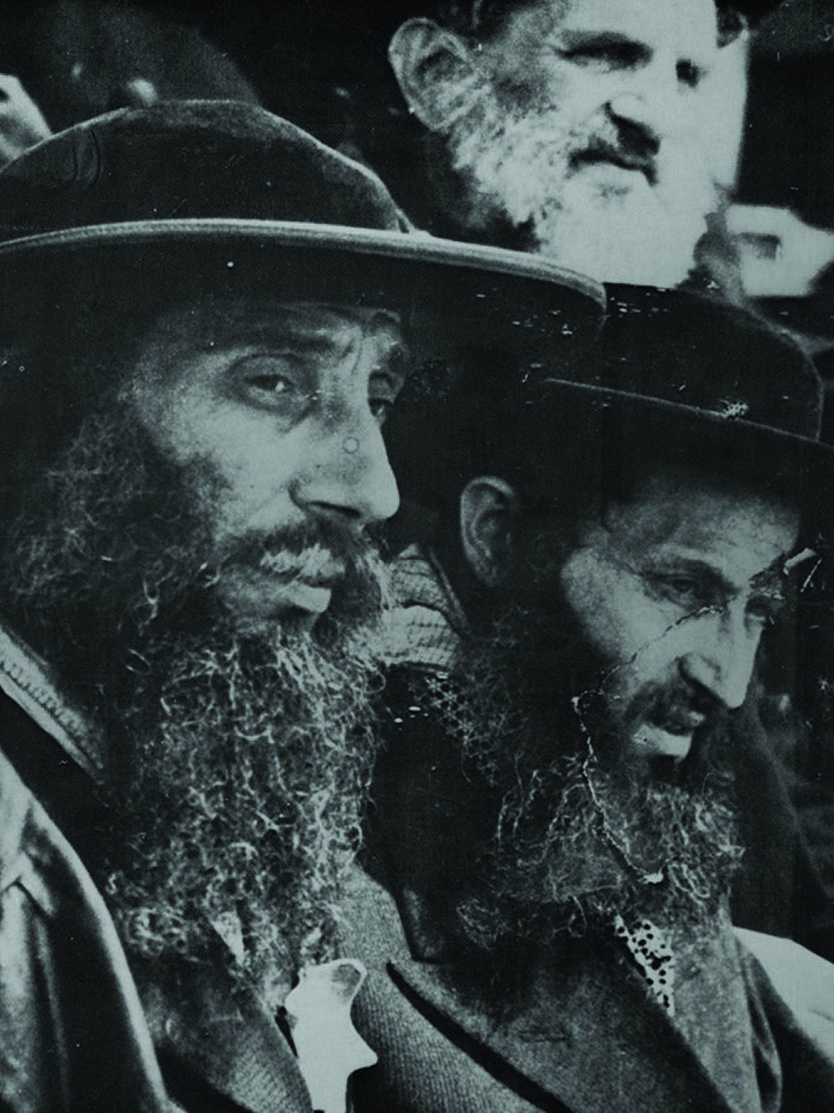 The exhibit features this photo of Jewish men taken before processing at Auschwitz.