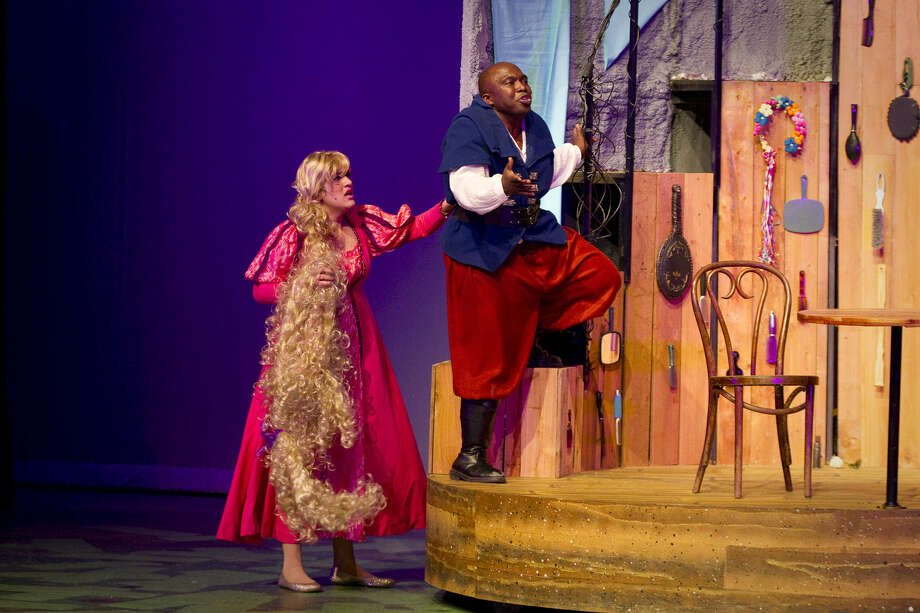 "Ariel Rosen (from left) and James ""Apollo"" Bradley play a couple in Magik Theatre's ""Rapunzel."" Photo: Courtesy David Frank"