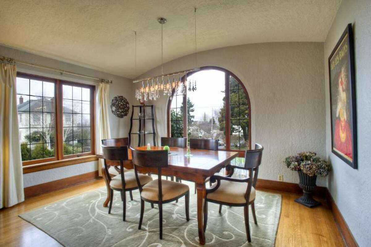 Dining room of 1622 1st Ave. N. The 2,800-square-foot Mediterranean-style house, built in 1927, has three bedrooms, 1.75 bathrooms, vaulted barrel ceilings, mahogany woodwork, leaded glass, a family room, a roof deck and a patio on a 3,150-square-foot lot. It's listed for $799,950.