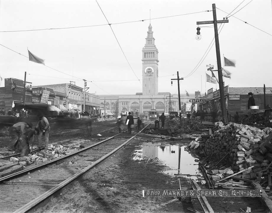 """1900s""""1906 to 1915 when the people of San Francisco rebuilt their ruined city after the earthquake and fire -- making it far grander, if only a little less rakish and shameless -- than it had been before, while [California Governor] Hiram Johnston spearheaded the reform of the municipal government (including the police force) with all of it ending with the opening of the Panama–Pacific International Exposition in February 1915."""" —Matt Diestel  (Photo: Market Street & Spear Street, December 19, 1906) Photo: John Henry Mentz, SFMTA"""