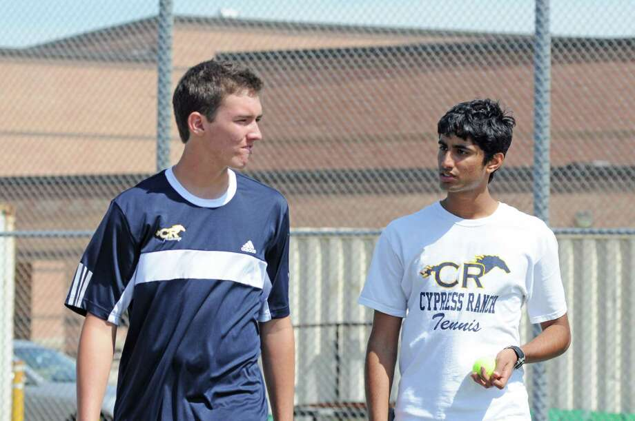 Cy Ranch sophomore Tyler Roberts, left, and senior Tariq Zahroof will compete in boys doubles at the District 17-5A Tennis Tournament scheduled for March 25-27 at Cy Woods High School. Photo: L. Scott Hainline / Freelance