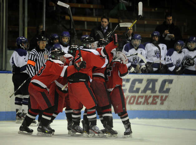 Fairfield celebrates a first period goal during their boys hockey matchup with North Branford in the Class 2 Semifinals of the 2013 Ice Hockey State Tournament at Ingalls Rink in New Haven, Conn. on Monday, March 11, 2013. Photo: Brian A. Pounds / Connecticut Post