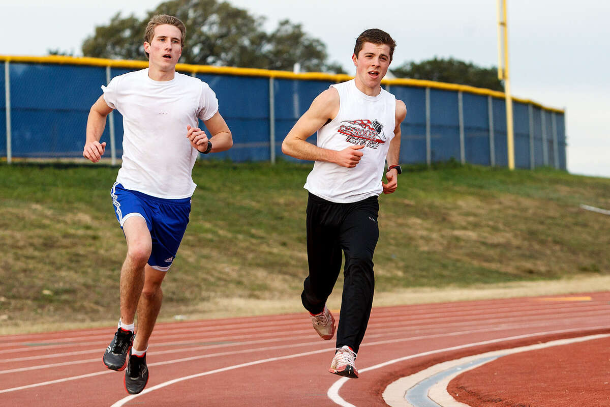 Brandeis' Brett Schmidt (left) and Andrew Whetten get in a morning practice session at the school on March 6.