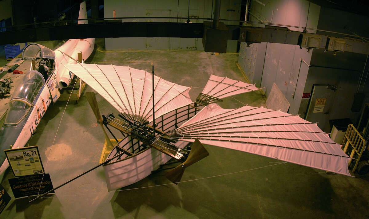A replica of Gustave Whitehead's plane sits at the Connecticut Air and Space Center in Stratford, Conn. on Tuesday March 12, 2013. For the 100th anniversary edition of Jane's All the World Aircraft, Whitehead's flyer will be given credit as the first operationl heavier-than-air aircraft.