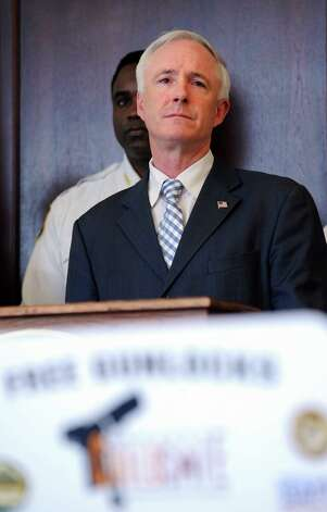 Bridgeport Mayor Bill Finch takes questions during a press conference announcing Newtown-based National Shooting Sports Foundation's (NSSF) initiative to donate 2,500 gun safety locks to Bridgeport, Stratford, Fairfield and Waterbury to be distributed to residents free of charge Tuesday, Mar. 12, 2013 at the Margaret E. Morton Government Center in Bridgeport, Conn. Photo: Autumn Driscoll / Connecticut Post