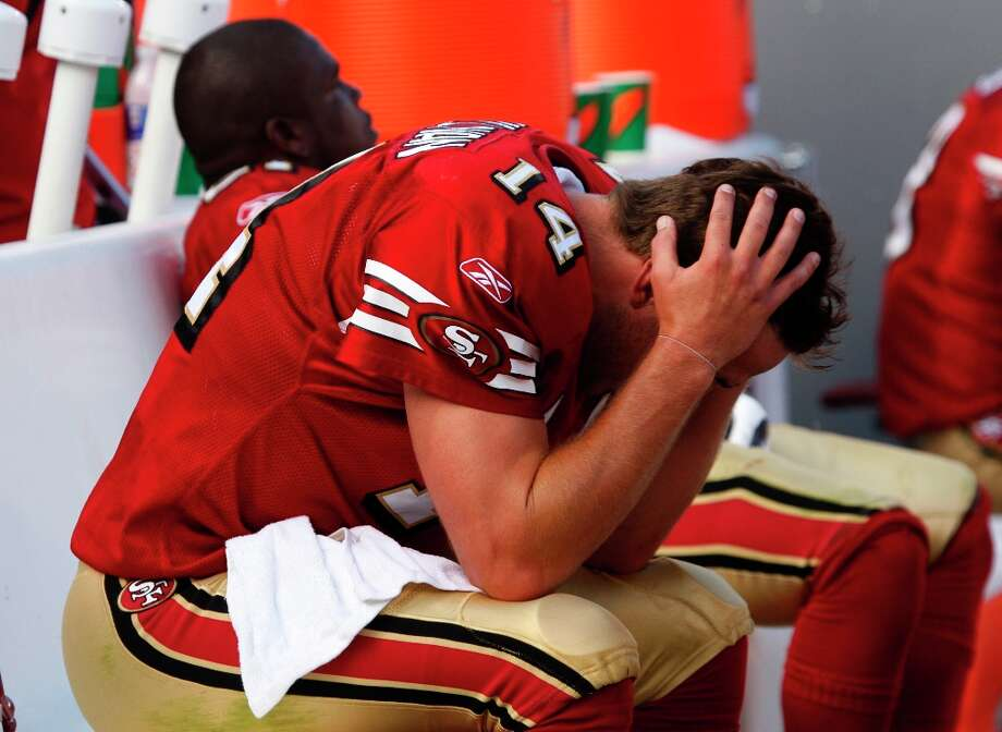 7. Smith loses the starting job in the 2008 training camp to journeyman J.T. O'Sullivan (seen here), and then breaks a bone in his shoulder because of improper wiring in the area from the previous surgery. The 49ers muddle through a difficult season which Nolan doesn't survive. Smith misses the entire 2008 campaign. Photo: Michael Maloney, The Chronicle / SFC