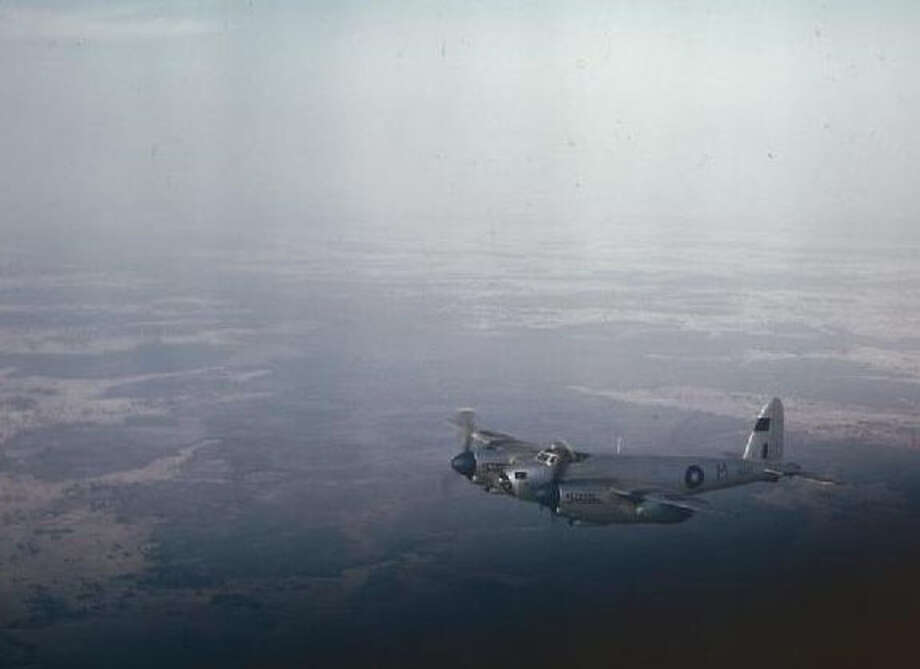 A Royal Air Force Photographic Reconnaissance Mosquito in flies over Bengal in March 1945. Photo: Royal Air Force