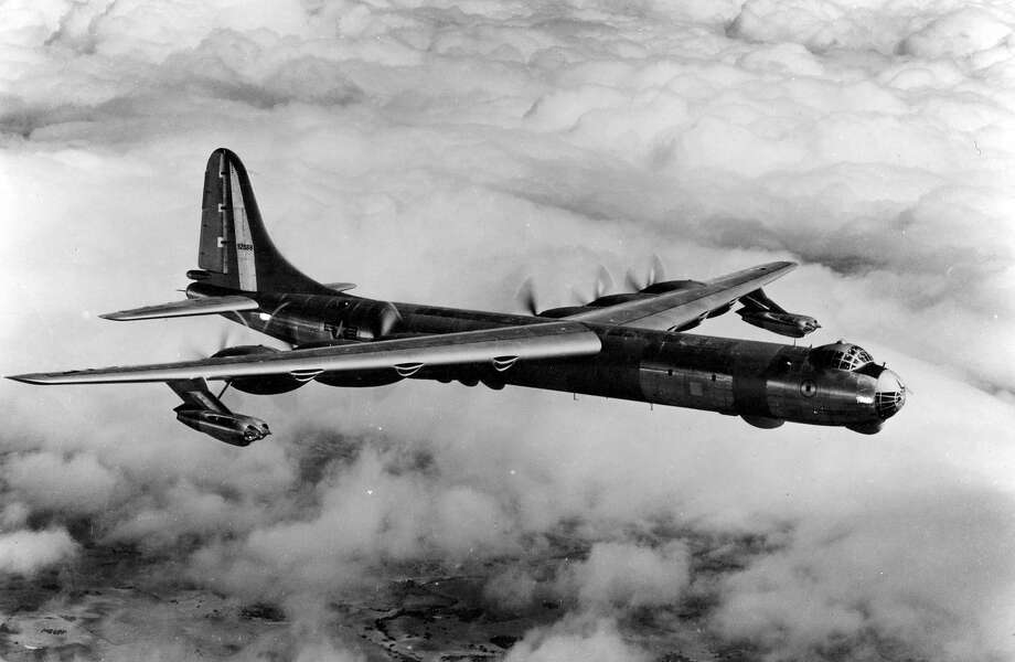 The Convair RB-36 was a reconnaissance version of the B-36 Peacemaker. The forward bomb bay was fitted with 14 cameras. The No. 2 bay was carried up to 80 100-pound photo flash bombs for nighttime aerial photography. The third bay could be equipped with a variety of additional equipment, including a 3,000-gallon fuel cell for increased range. The last bay was held electronic countermeasures gear. It also had many more antennas than the B-36 and four large radomes -- one forward of the nose landing gear and three more on the belly installed in the No. 4 bomb bay. Photo: U.S. Air Force