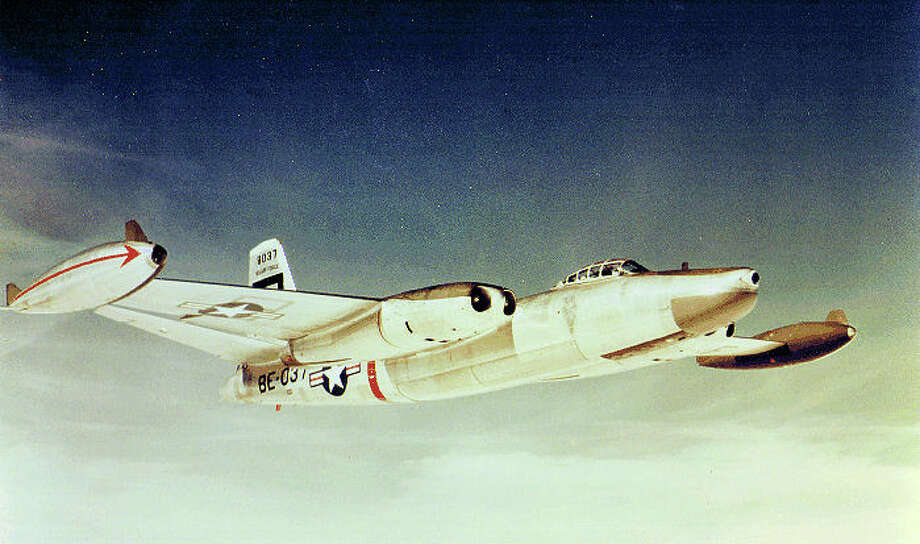The North American RB-45C was the reconnaissance version of the B-45 Tornado. Note the wingtip fuel tanks for longer range. Photo: U.S. Air Force