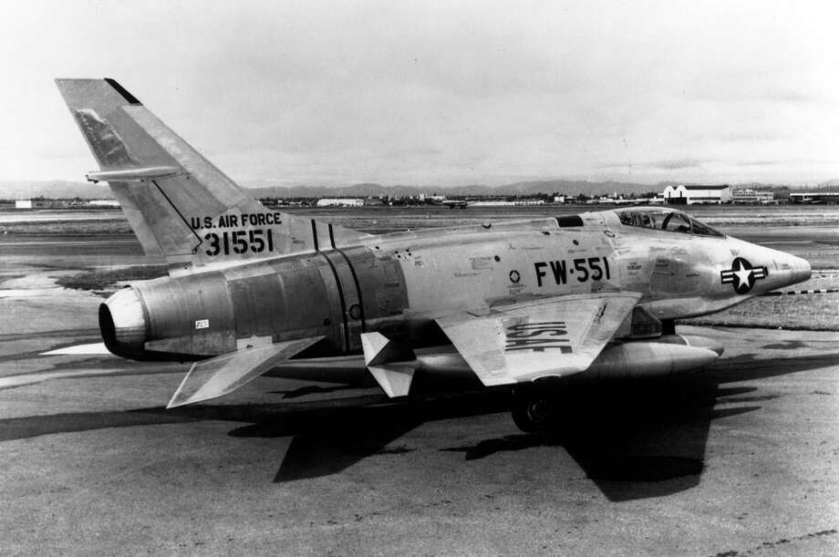 "The North American RF-100A ""Slick Chick"" was a tactical reconnaissance version of the North American F-100. Note the bulge in the fuselage below the cockpit for the cameras. The F-100 was the U.S. Air Force's first operational aircraft capable of flying faster than the speed of sound (760 mph) in level flight. It made its initial flight on May 25, 1953. Photo: U.S. Air Force"
